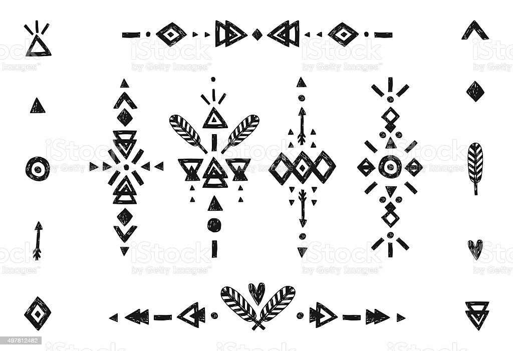 Hand drawn tribal collection vector art illustration