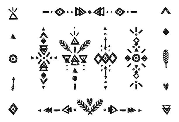 hand drawn tribal-kollektion - boho stock-grafiken, -clipart, -cartoons und -symbole