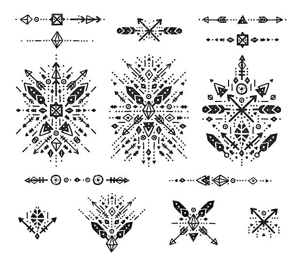 hand drawn tribal collection - tribal tattoos stock illustrations, clip art, cartoons, & icons