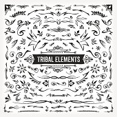 A set of hand drawn tribal-themed design elements. EPS 10 file, no transparencies, layered & grouped,