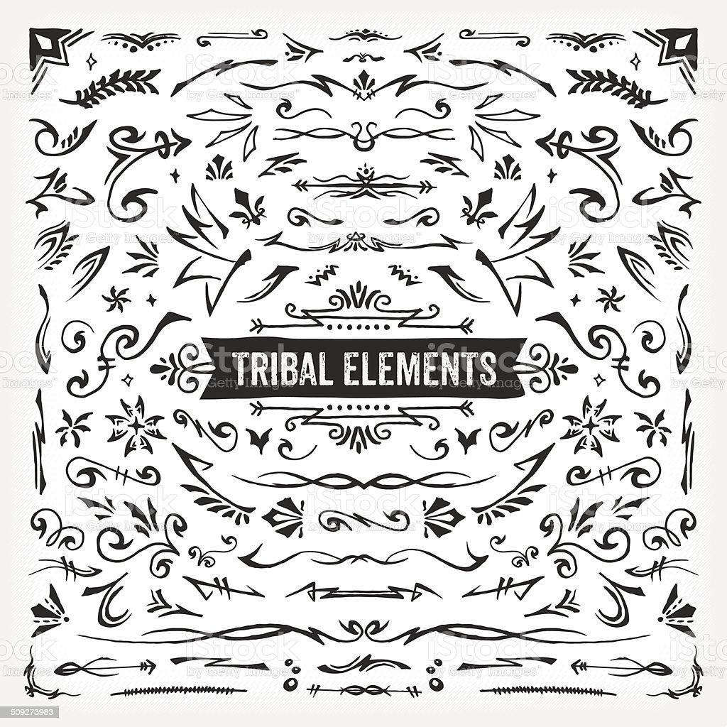 Hand Drawn Tribal Elements vector art illustration