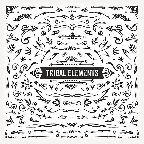 hand drawn tribal elements - tribal tattoos stock illustrations, clip art, cartoons, & icons