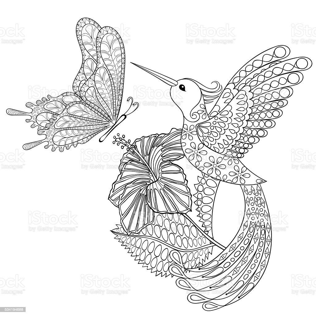 Handgezeichnet Tribal Fliegende Schmetterlinge Kolibri In Hib Stock