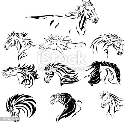 Hand Drawn Tribal Horse Set Black