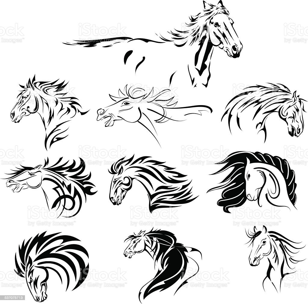 Hand Drawn Tribal Horse Set Black vector art illustration