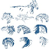 Hand Drawn Tribal Horse Set Blue