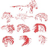 Hand Drawn Tribal Horse Set Red