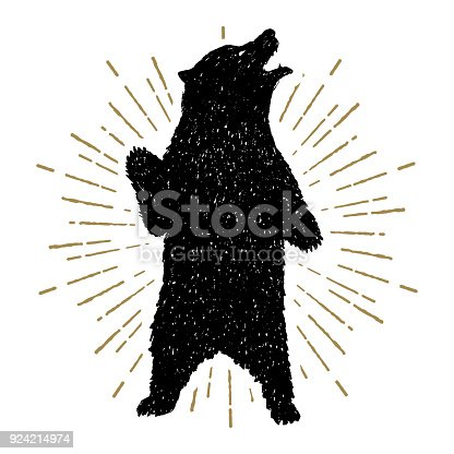 Hand drawn tribal icon with a textured grizzly bear vector illustration.