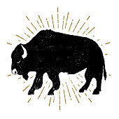 Hand drawn tribal icon with a textured buffalo vector illustration.