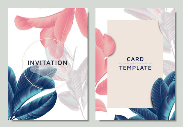 hand drawn tropical blue, pink and white guava leaves on branch, invitation card template design - invitation card stock illustrations, clip art, cartoons, & icons