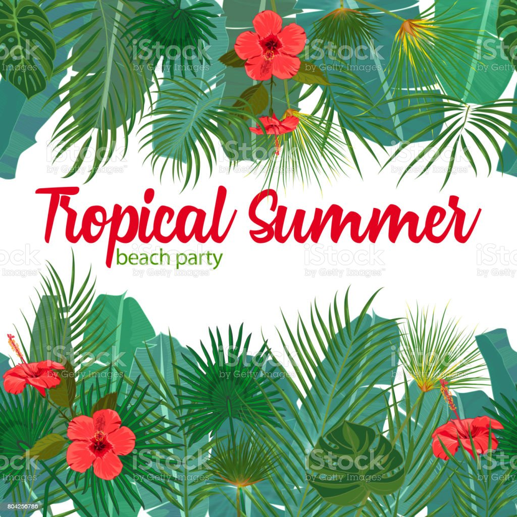 hand drawn tropical palm leaves and jungle exotic flower flyer