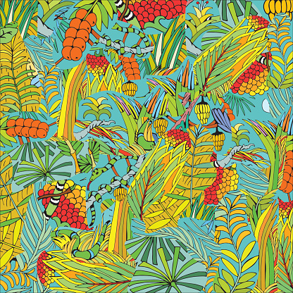 Hand Drawn Tropical Plant and Snakes. Jungle theme.