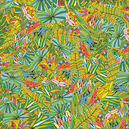 Hand Drawn Tropical Plant Pattern. Background on the Jungle theme.
