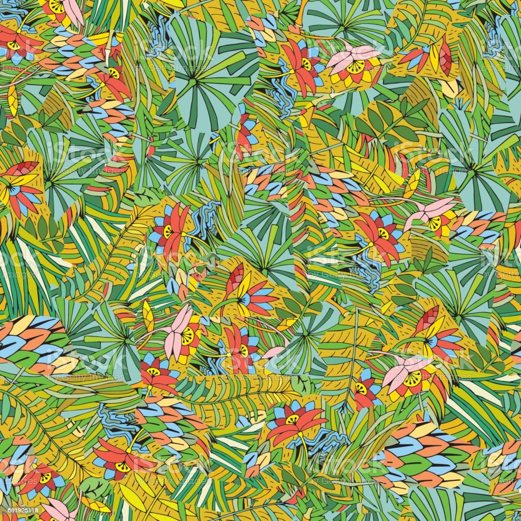 hand drawn tropical plant seamless pattern background on the jungle