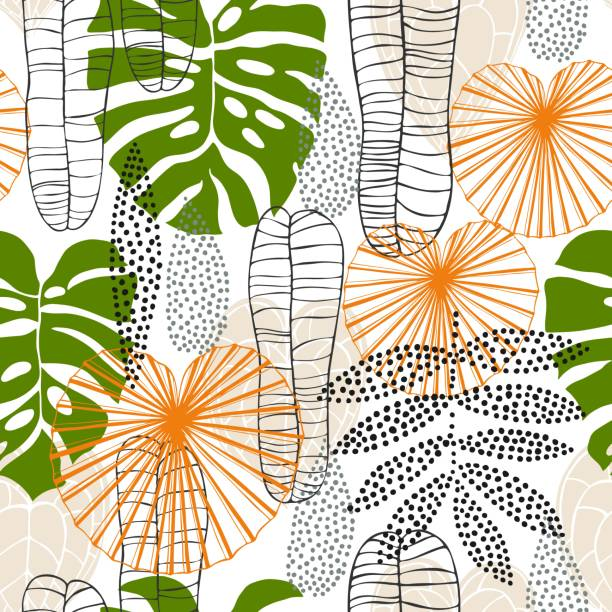 Hand drawn tropical plants. Hand drawn tropical plants.Vector seamless pattern idyllic stock illustrations