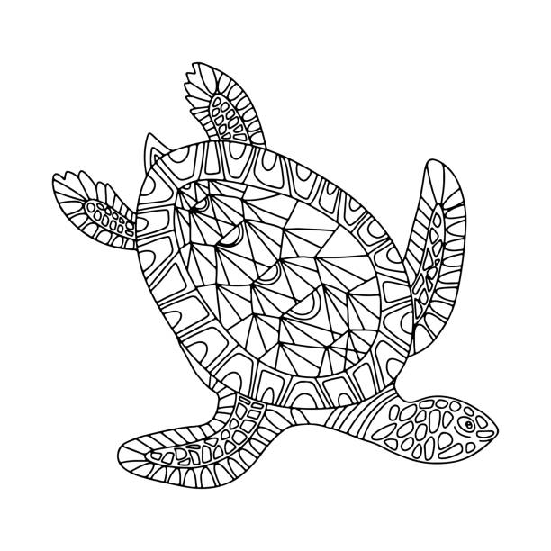 Hand drawn Turtle doodle decorative black  vector illustration isolated on white background. Hand drawn Turtle doodle decorative black  vector illustration isolated on white background. Sea animal sketch.  Design for coloring book, page, banner, print, t-shirt, card, flyer animal markings stock illustrations