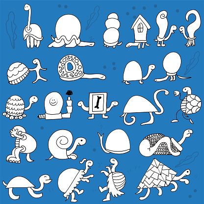 Hand drawn Turtle Doodles Pattern
