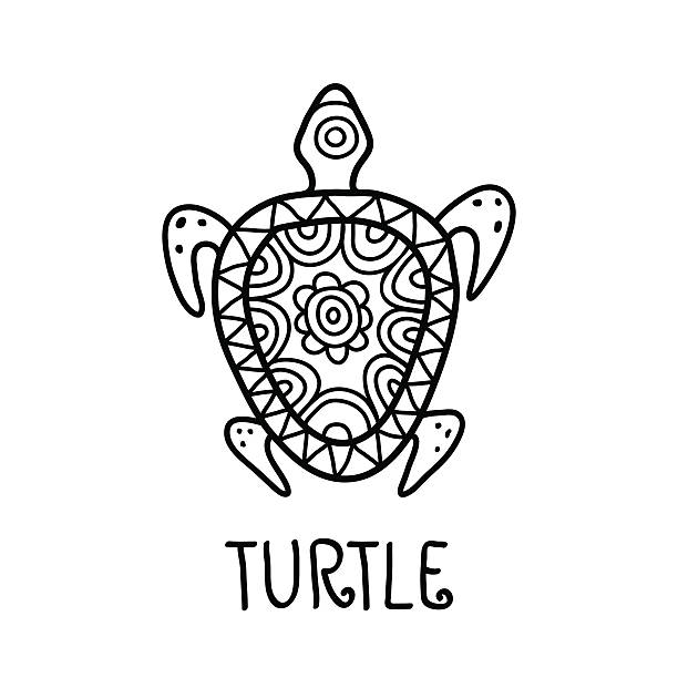 Royalty Free Tribal Turtle Design Silhouettes Clip Art Vector