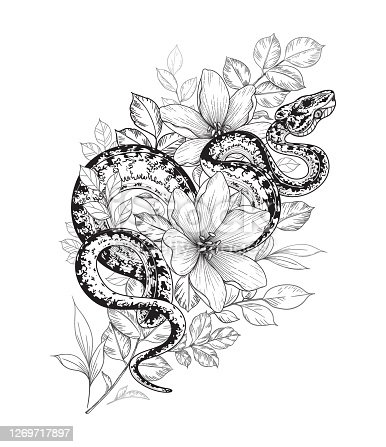 Hand drawn twisted snake among flowers