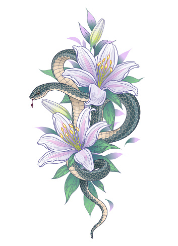 Hand drawn twisted Snake among lily flowers