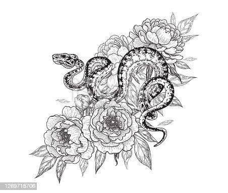 Hand drawn twisted snake among peony flowers