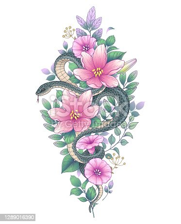 Hand drawn twisted Snake and wild flowers