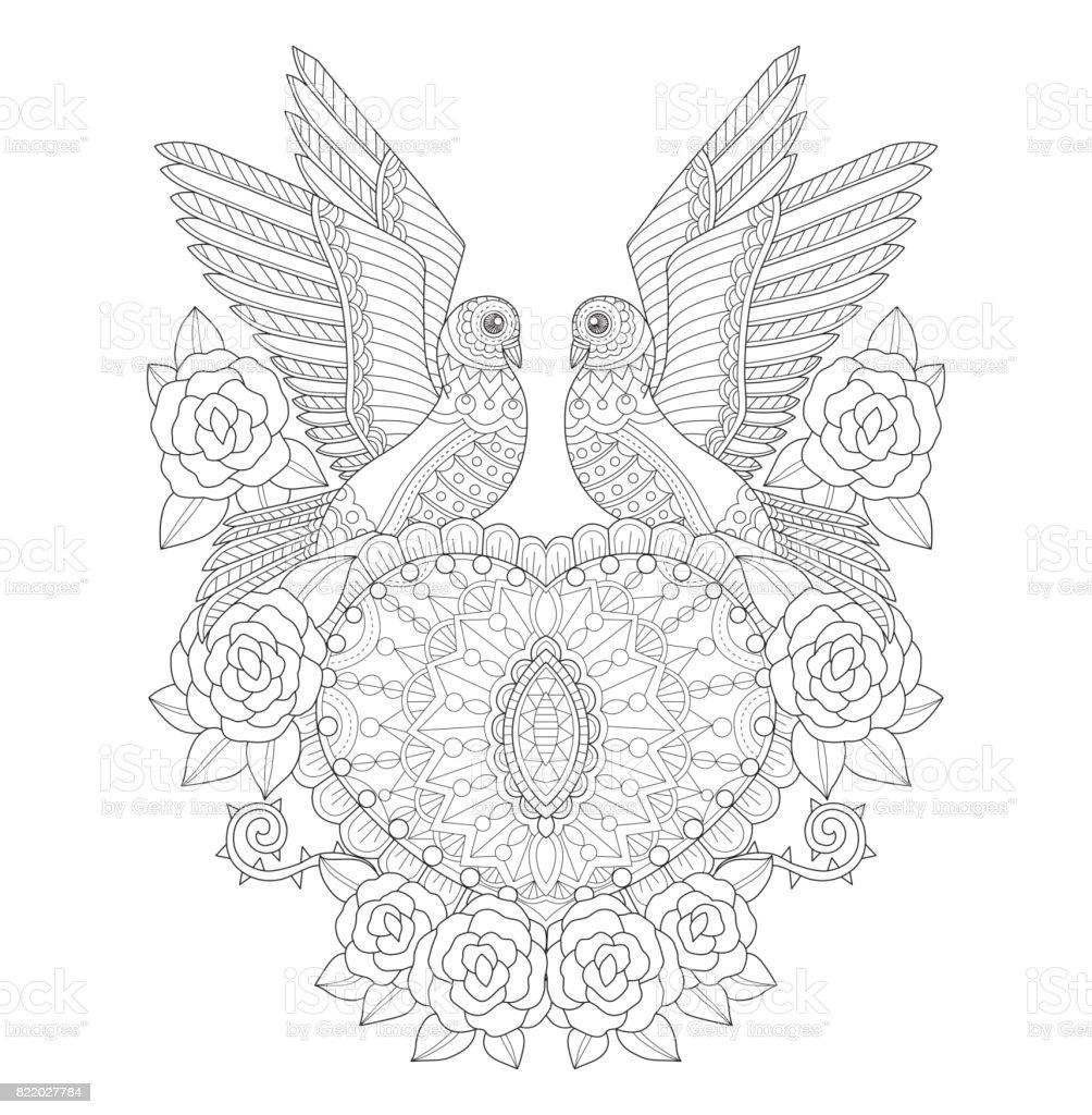 Handgezeichnete Zwei Tauben Mit Herzen Und Rosen Für Erwachsene ...