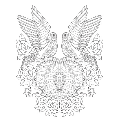 Hand Drawn Two Doves With Heart And Roses For Adult ...