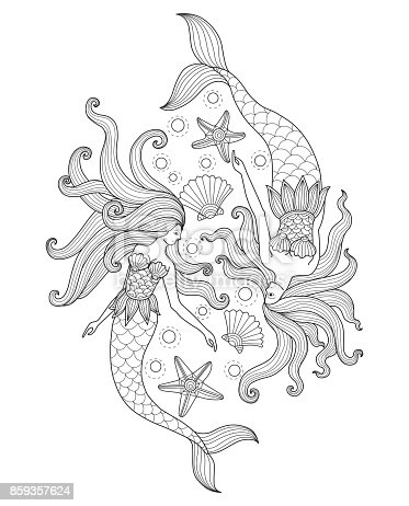 Black and white line art vector illustration was made in eps 10. Can be used for adult coloring book.