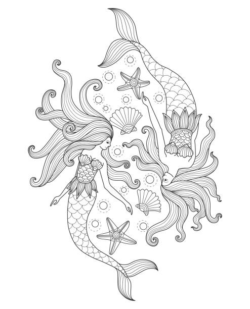 Hand drawn Two Mermaids in the sea for adult coloring page. vector art illustration