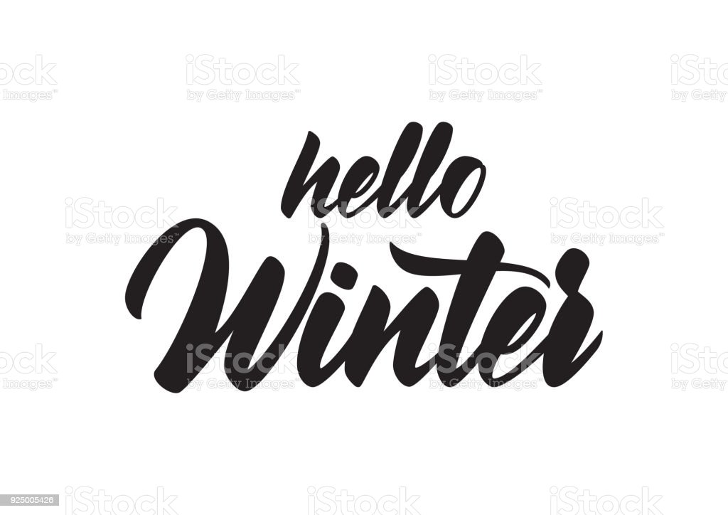 Hand Drawn Type Lettering Of Hello Winter Royalty Free
