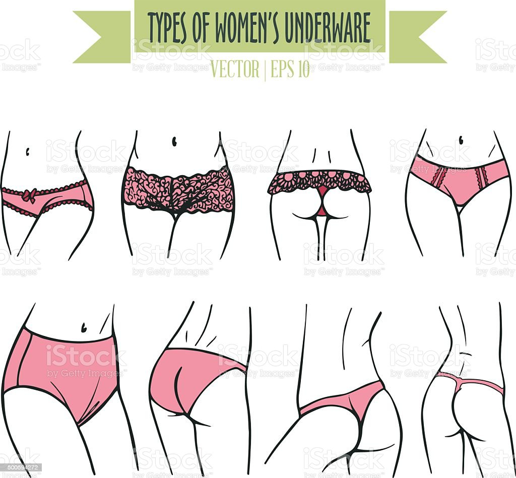 Hand drawn types of women's underwear in pink colors vector art illustration
