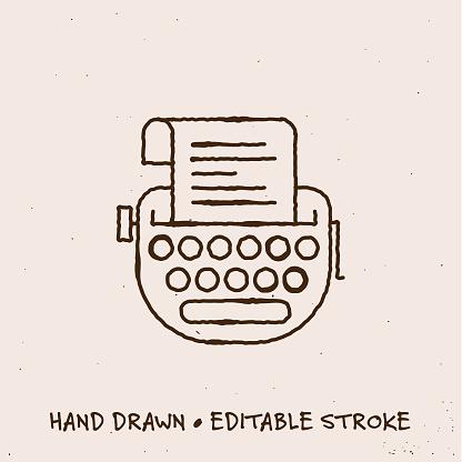 Hand Drawn Typewriter Single Line Icon with Editable Stroke