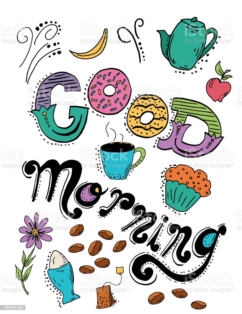 Hand Drawn Typography Breakfast And Morning Stock Vector Art More