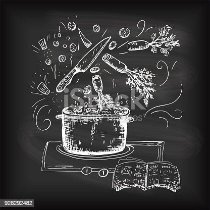 Cooking Hand Drawn Doodled Text and Design Elements