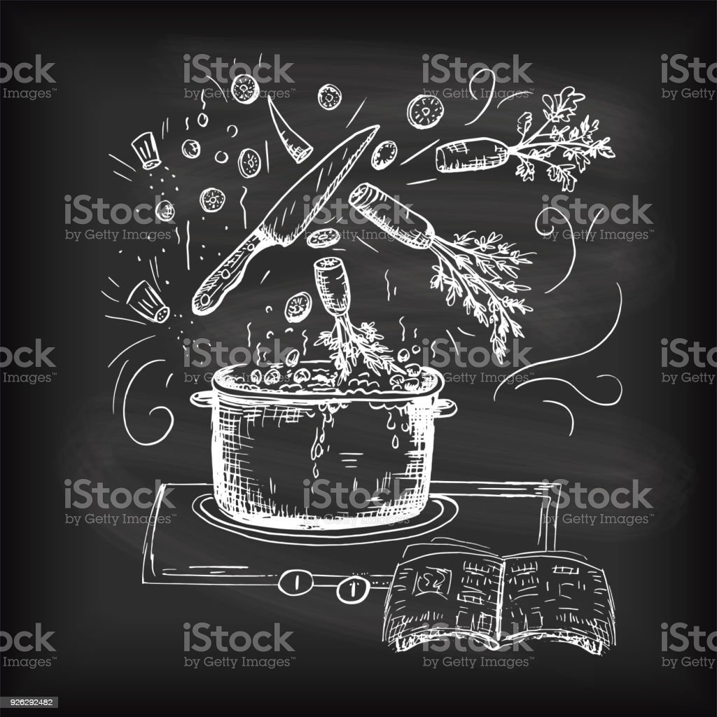 Hand Drawn Typography - Cooking And Foods vector art illustration