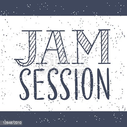 istock Hand drawn typography poster. Inspirational vector typography. Hand drawn lettering of words Jam Session 1254872010