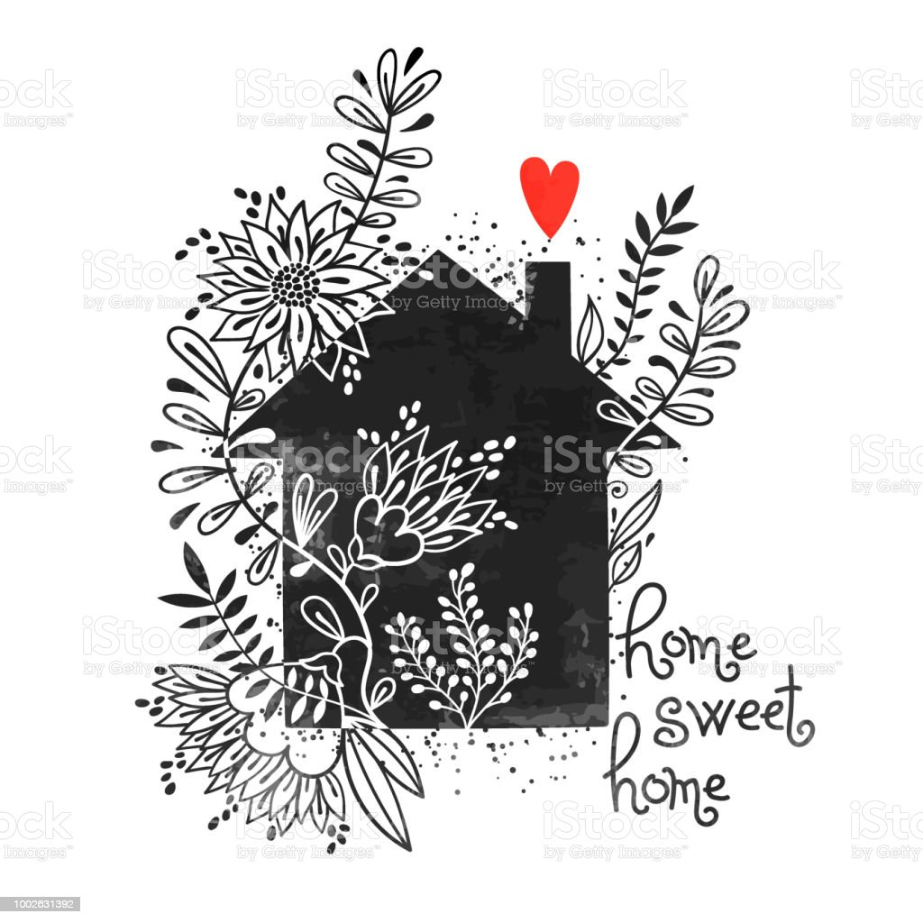 Hand Drawn Typography Poster Vector Illustration With Black House
