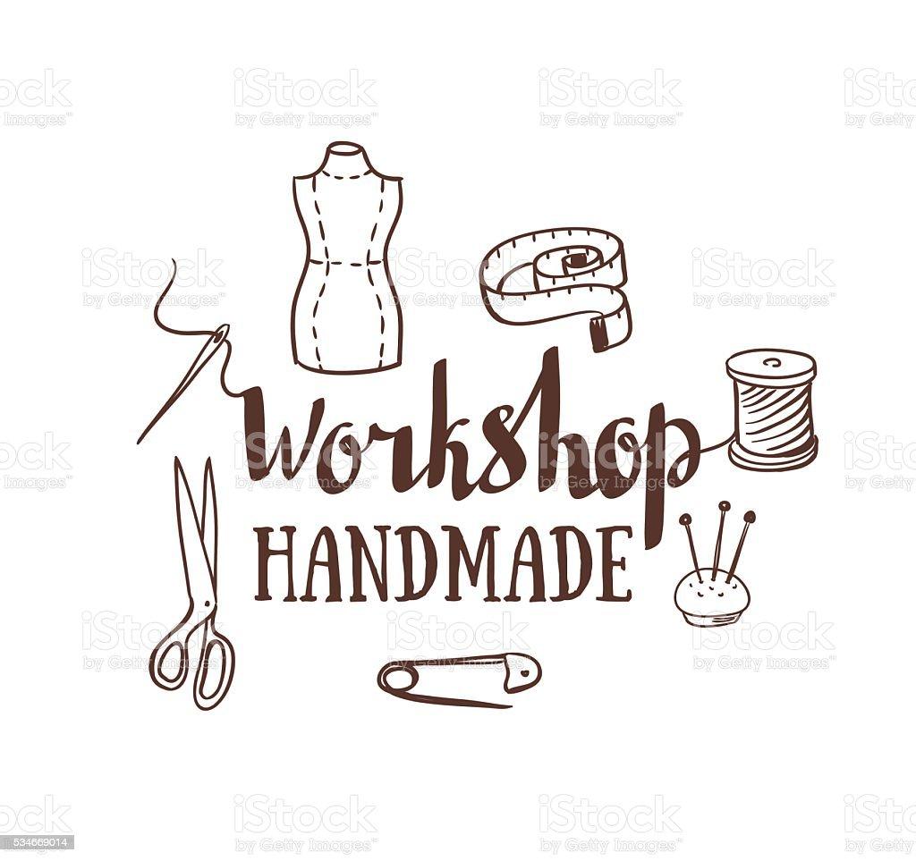 Dessiné à la main affiche de typographie confection de robes accessoires et des lettres. - Illustration vectorielle