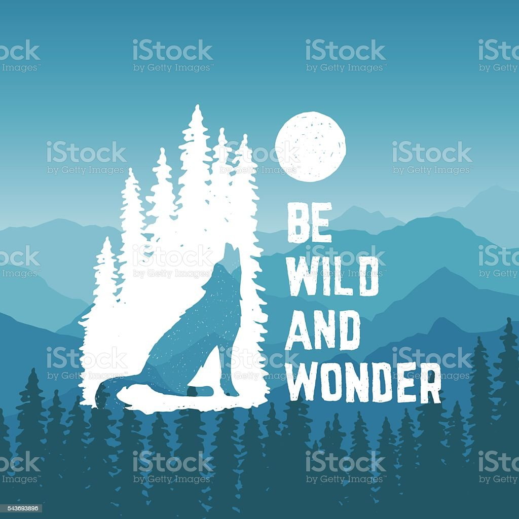 hand drawn typography poster with howling wolf in nature vector art illustration
