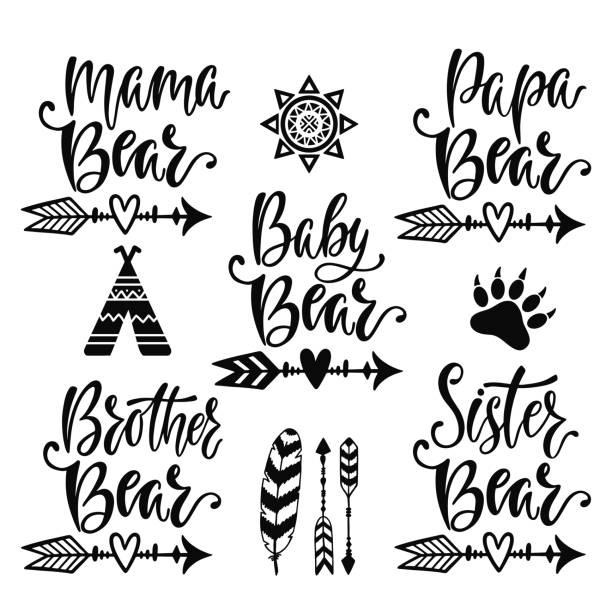 ilustrações, clipart, desenhos animados e ícones de mão desenhada frases de vetor de tipografia - irmã