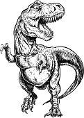 Hand Drawn Tyrannosaurus Dinosaur Vector Illustration