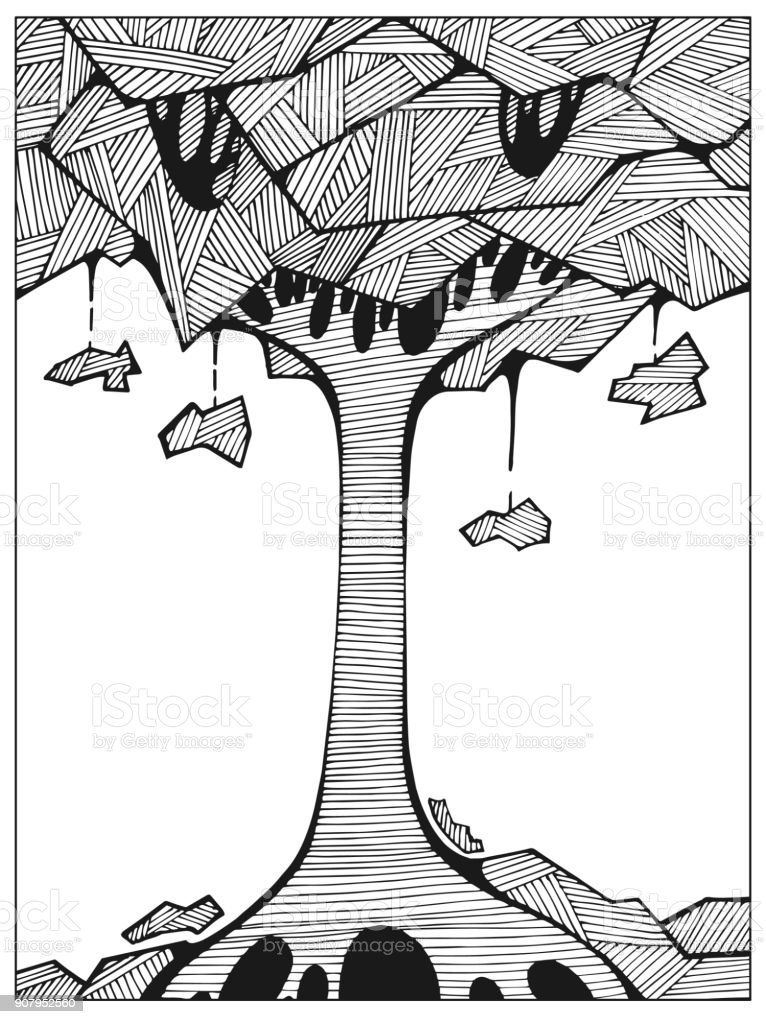 Ilustración de Árbol Dibujado Incoloro Abstracto En El Arte De La ...