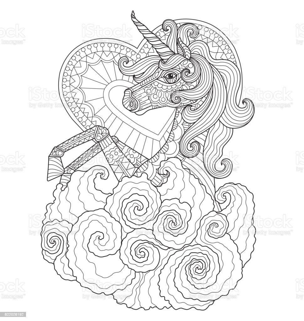 Hand dras Unicorn med hjärta för vuxen målarbok. vektorkonstillustration