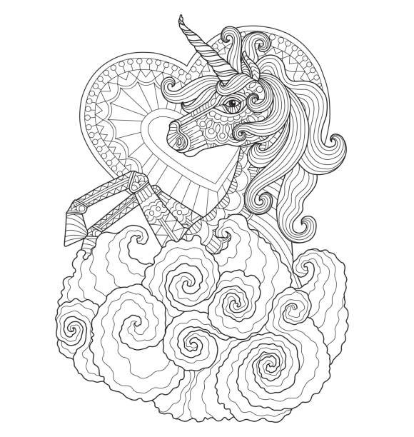 Hand drawn Unicorn with heart for adult coloring page. vector art illustration