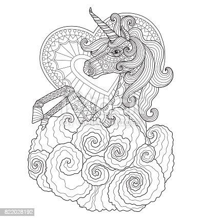 Ilustración de Mano Dibuja Unicornio Con Corazón Para Colorear ...