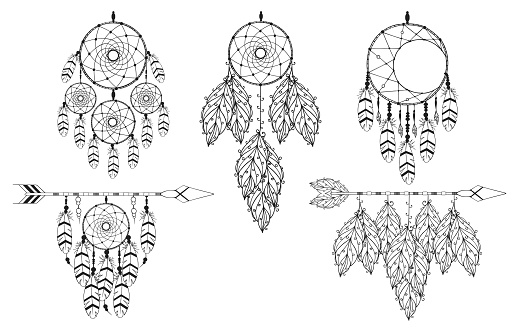 Hand drawn unique vintage dream catcher collection in boho style. Scandinavian background. Magic tribal indian tattoo. Traditional aztec print.