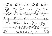 Hand drawn uppercase calligraphic alphabet and number.