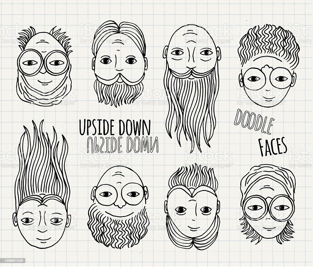 Hand drawn upside down doodle faces vector art illustration