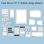 Set of website and user interface hand drawn design elements